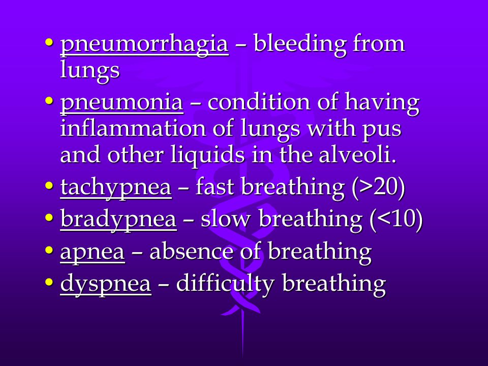 pneumorrhagia – bleeding from lungspneumorrhagia – bleeding from lungs pneumonia – condition of having inflammation of lungs with pus and other liquid