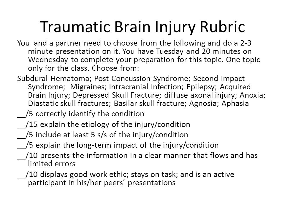 Traumatic Brain Injury Rubric You and a partner need to choose from the following and do a 2-3 minute presentation on it.