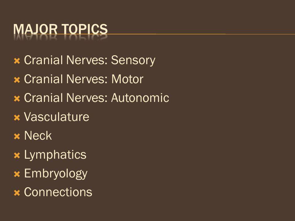  Cranial Nerves: Sensory  Cranial Nerves: Motor  Cranial Nerves: Autonomic  Vasculature  Neck  Lymphatics  Embryology  Connections