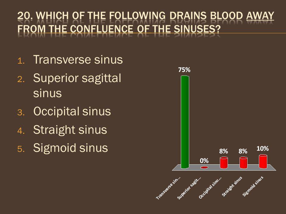1. Transverse sinus 2. Superior sagittal sinus 3. Occipital sinus 4. Straight sinus 5. Sigmoid sinus