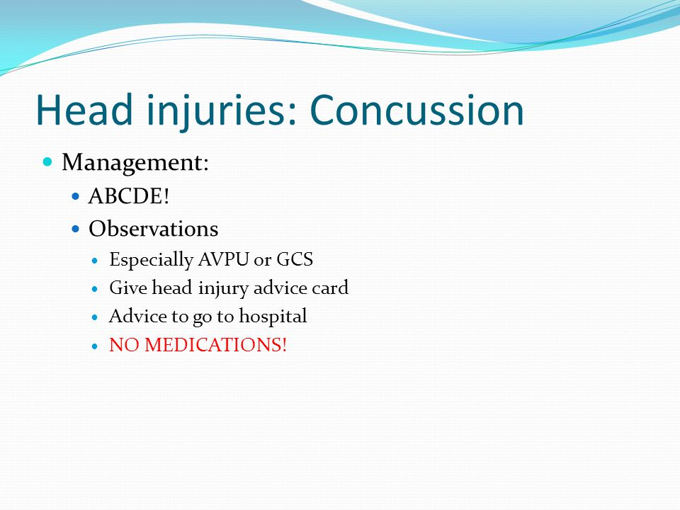 Head injuries: Concussion Management: ABCDE.