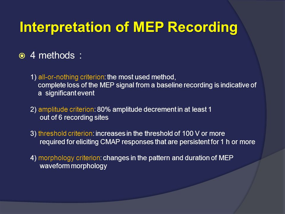 Interpretation of MEP Recording Interpretation of MEP Recording  4 methods : 1) all-or-nothing criterion: the most used method, complete loss of the