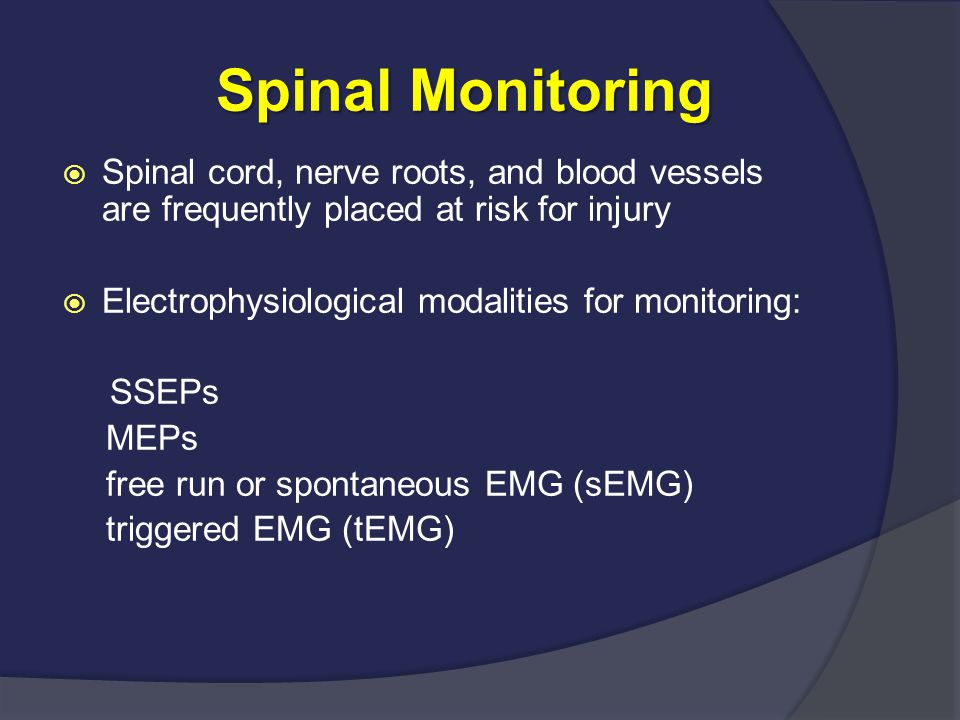 MEP MEP  1990s, TC-MEP as a method to monitor the corticospinal tracts  Prior to MEP monitoring, the only way to assess corticospinal tract during surgery was wake-up test