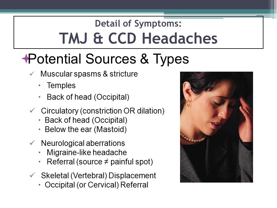 Detail of Symptoms: TMJ & CCD Headaches  Potential Sources & Types Muscular spasms & stricture  Temples  Back of head (Occipital) Circulatory (cons