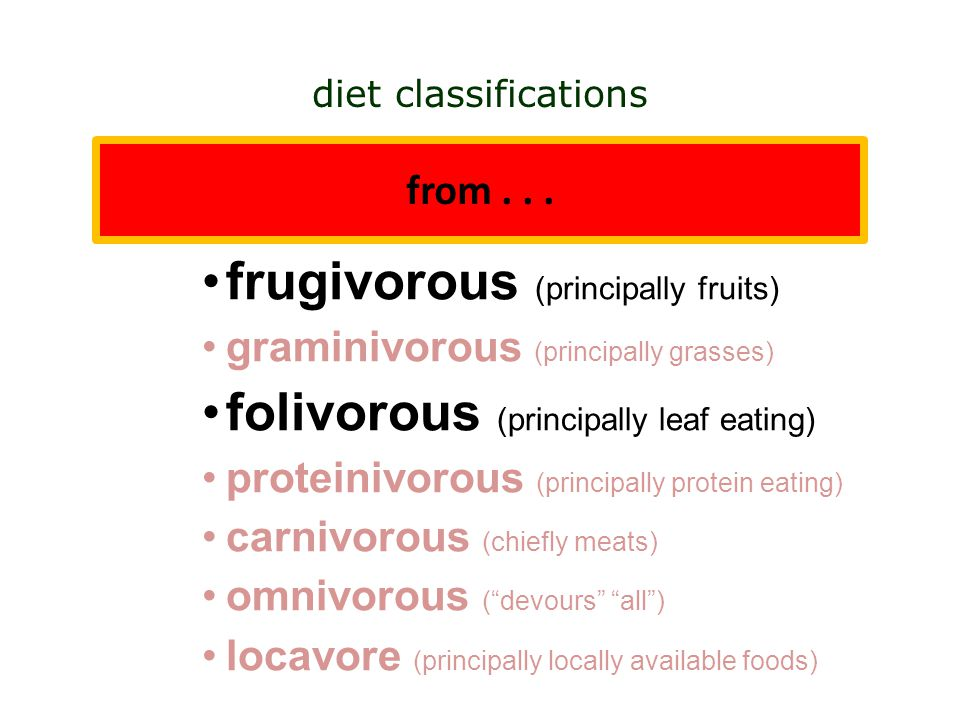 herbivorous (principally plants) insectivorous (principally insects) frugivorous (principally fruits) graminivorous (principally grasses) folivorous (principally leaf eating) proteinivorous (principally protein eating) carnivorous (chiefly meats) omnivorous ( devours all ) locavore (principally locally available foods) diet classifications from...