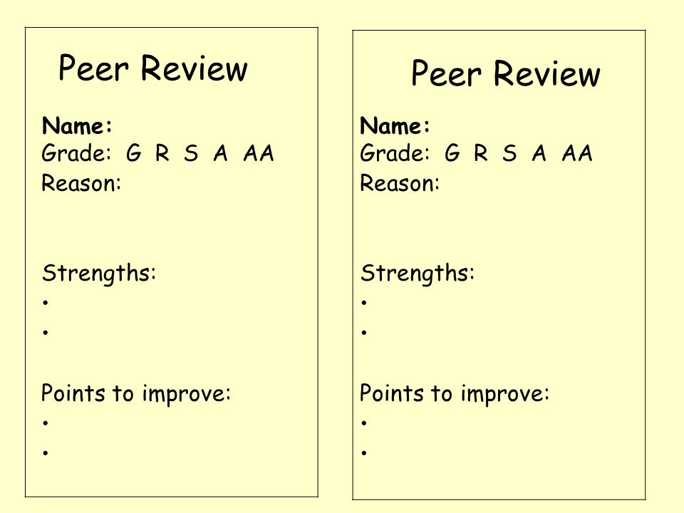 Peer Review Name: Grade: G R S A AA Reason: Strengths: Points to improve: Grade: G R S A AA Reason: Strengths: Points to improve: Name: Peer Review