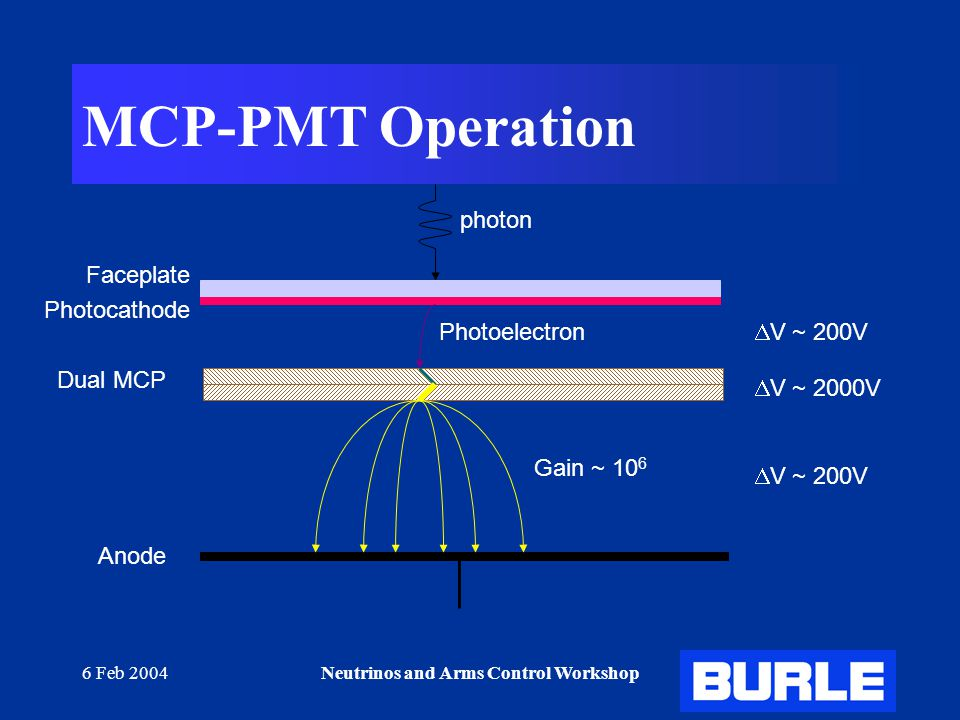 6 Feb 2004Neutrinos and Arms Control Workshop MCP-PMT Operation Faceplate Photocathode Dual MCP Anode Gain ~ 10 6 Photoelectron  V ~ 200V  V ~ 2000V photon