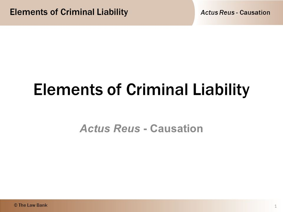 Elements of Criminal Liability © The Law Bank Objectives Identify the meaning of the term causation Describe and give examples of the meaning of factual causation Describe and give examples of the meaning of legal causation 2