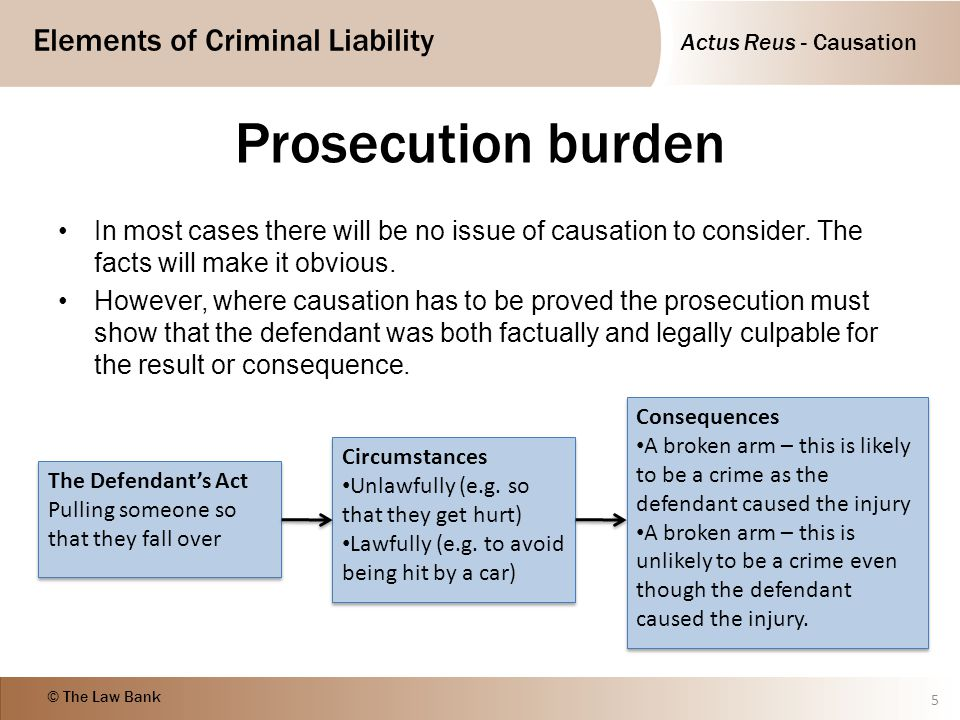 Actus Reus - Causation Elements of Criminal Liability © The Law Bank R v Smith (1959) 16 Case Law Causation - must be operating and substantial – medical novus must be palpably wrong D stabbed V with a bayonet during a fight in barracks.
