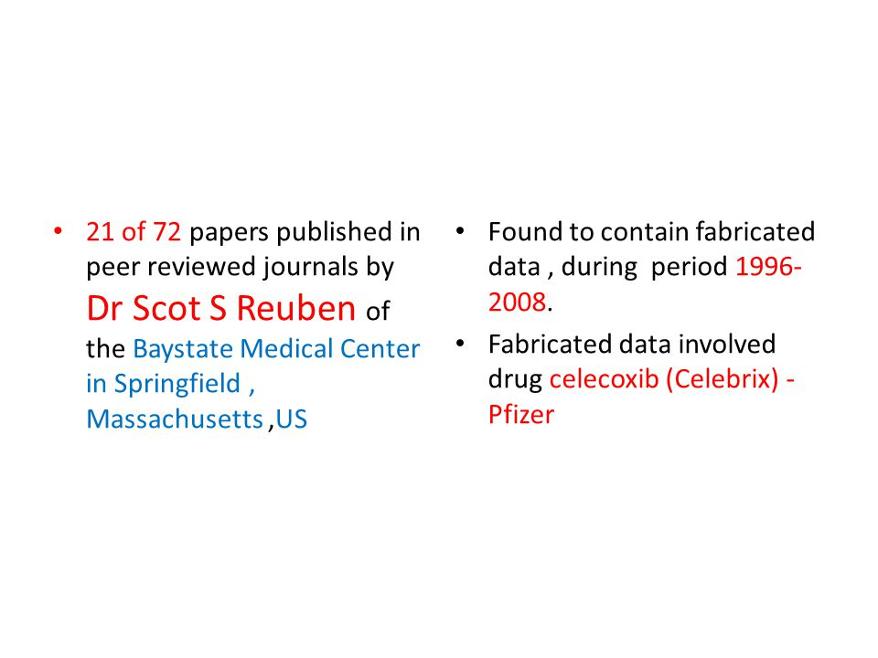 21 of 72 papers published in peer reviewed journals by Dr Scot S Reuben of the Baystate Medical Center in Springfield, Massachusetts,US Found to contain fabricated data, during period 1996- 2008.