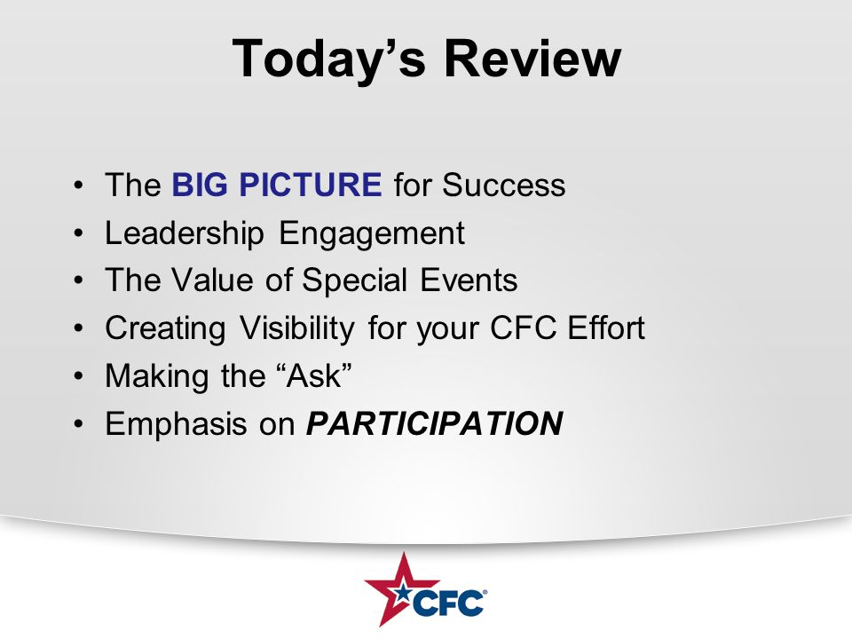 """Today's Review The BIG PICTURE for Success Leadership Engagement The Value of Special Events Creating Visibility for your CFC Effort Making the """"Ask"""""""