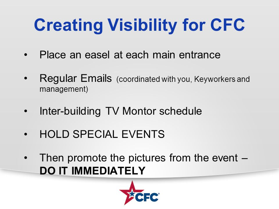 Creating Visibility for CFC Place an easel at each main entrance Regular Emails (coordinated with you, Keyworkers and management) Inter-building TV Mo