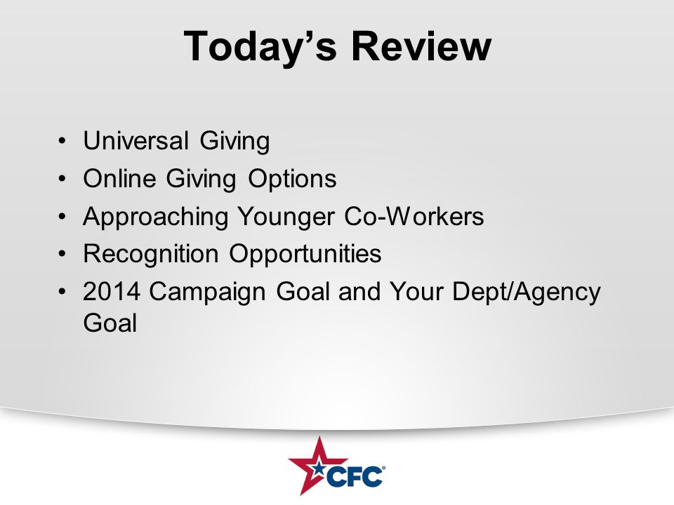 Campaign Overview The Basics of the CFC