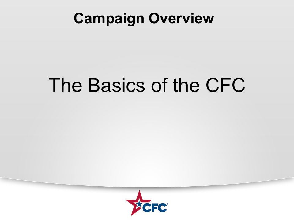 THANK YOU! THE SUCCESS OF THE CFC RESTS WITH YOU!!