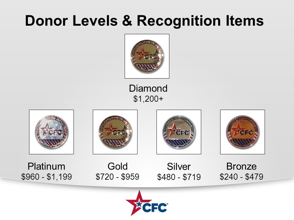 Donor Levels & Recognition Items Bronze $240 - $479 Silver $480 - $719 Gold $720 - $959 Platinum $960 - $1,199 Diamond $1,200+
