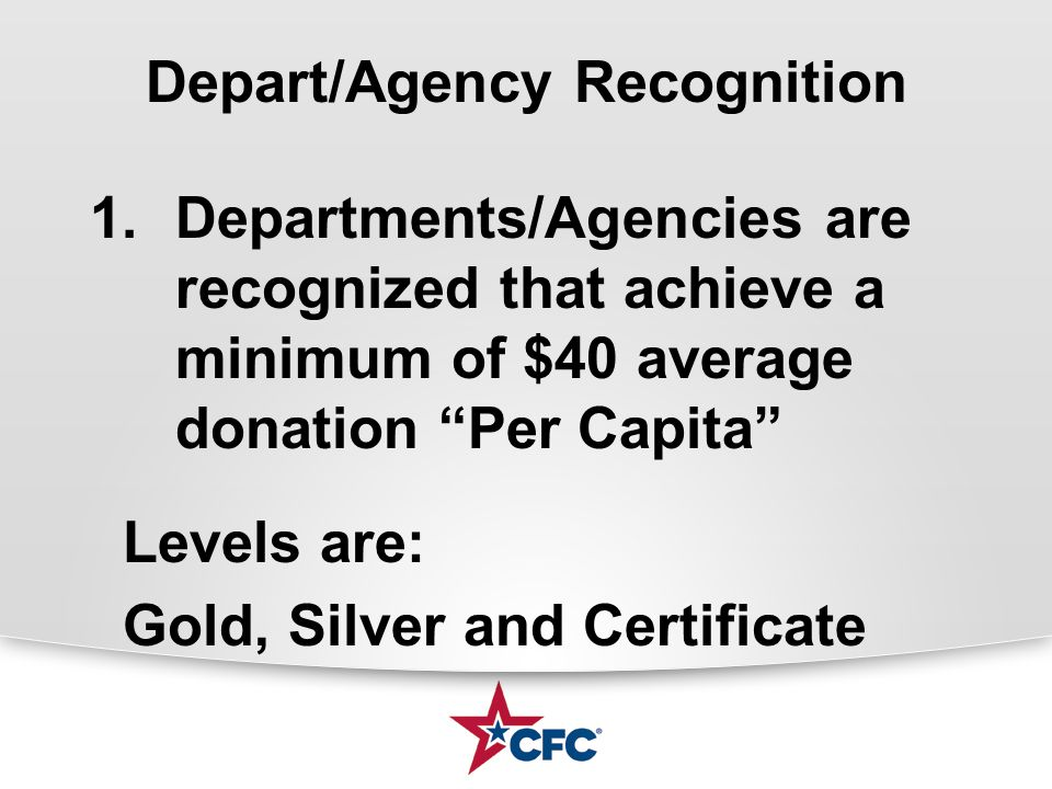 Depart/Agency Recognition 1.Departments/Agencies are recognized that achieve a minimum of $40 average donation Per Capita Levels are: Gold, Silver and Certificate