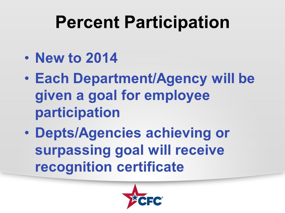 Percent Participation New to 2014 Each Department/Agency will be given a goal for employee participation Depts/Agencies achieving or surpassing goal will receive recognition certificate