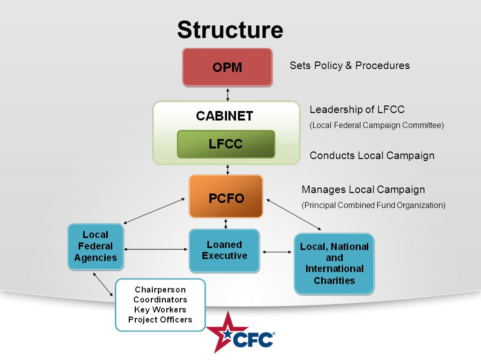 Structure Sets Policy & Procedures Conducts Local Campaign Manages Local Campaign (Principal Combined Fund Organization) Leadership of LFCC (Local Federal Campaign Committee)