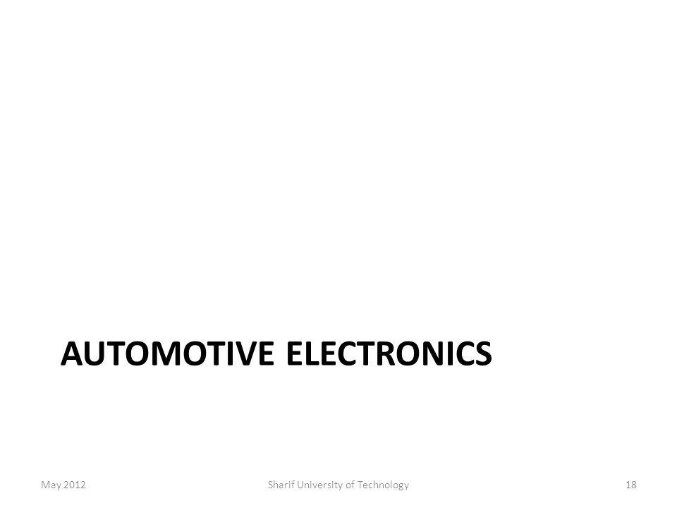 AUTOMOTIVE ELECTRONICS May 2012Sharif University of Technology18