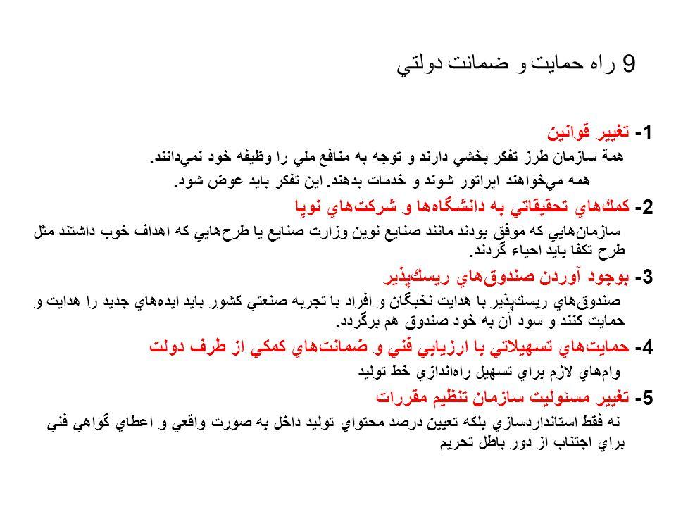 9 راه حمايت و ضمانت دولتي 1- تغيير قوانين همة سازمان طرز تفكر بخشي دارند و توجه به منافع ملي را وظيفه خود نمي  دانند.