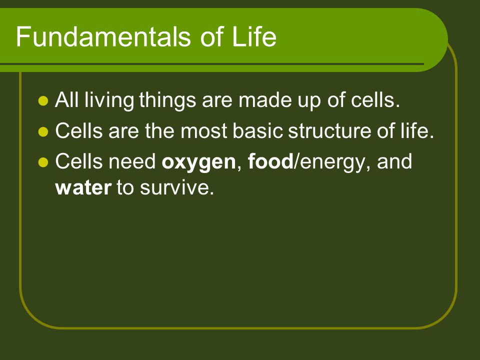 Fundamentals of Life All living things are made up of cells. Cells are the most basic structure of life. Cells need oxygen, food/energy, and water to