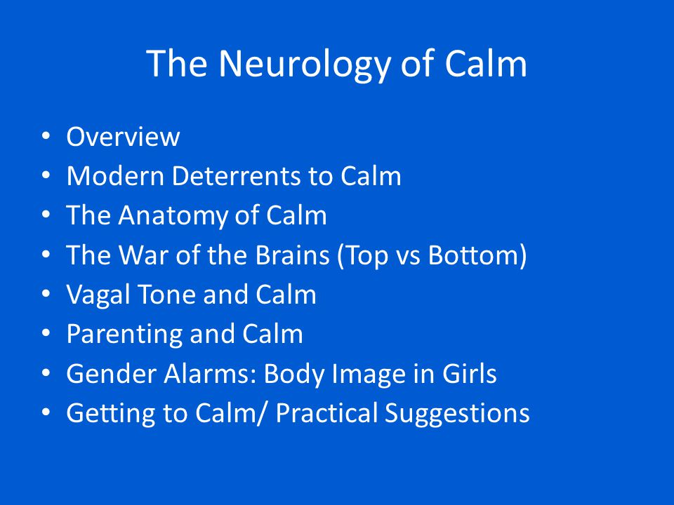 The Neurology of Calm Overview Modern Deterrents to Calm The Anatomy of Calm The War of the Brains (Top vs Bottom) Vagal Tone and Calm Parenting and C