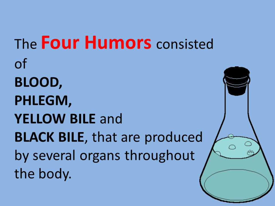 The Four Humors consisted of BLOOD, PHLEGM, YELLOW BILE and BLACK BILE, that are produced by several organs throughout the body.