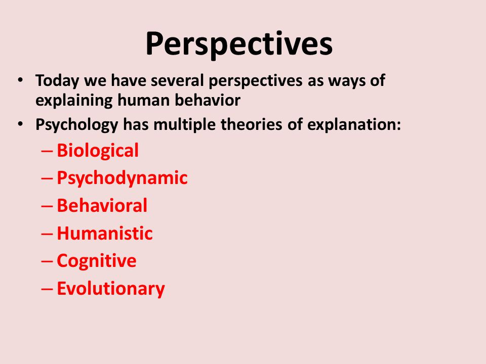 Perspectives Today we have several perspectives as ways of explaining human behavior Psychology has multiple theories of explanation: – Biological – Psychodynamic – Behavioral – Humanistic – Cognitive – Evolutionary