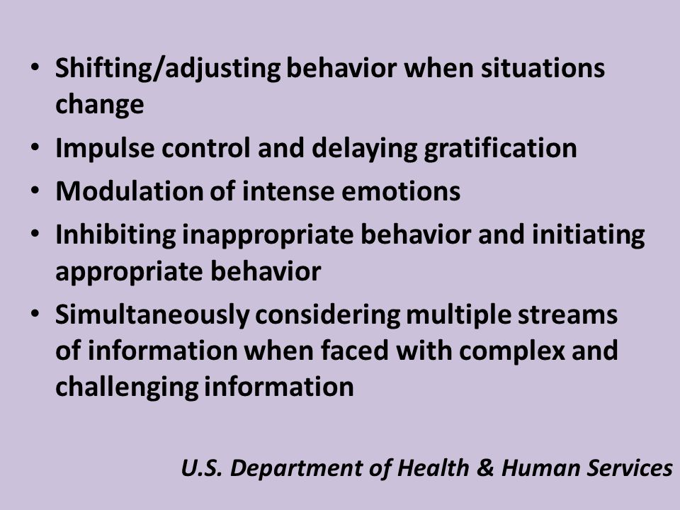 Shifting/adjusting behavior when situations change Impulse control and delaying gratification Modulation of intense emotions Inhibiting inappropriate behavior and initiating appropriate behavior Simultaneously considering multiple streams of information when faced with complex and challenging information U.S.