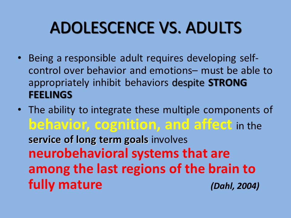 ADOLESCENCE VS.