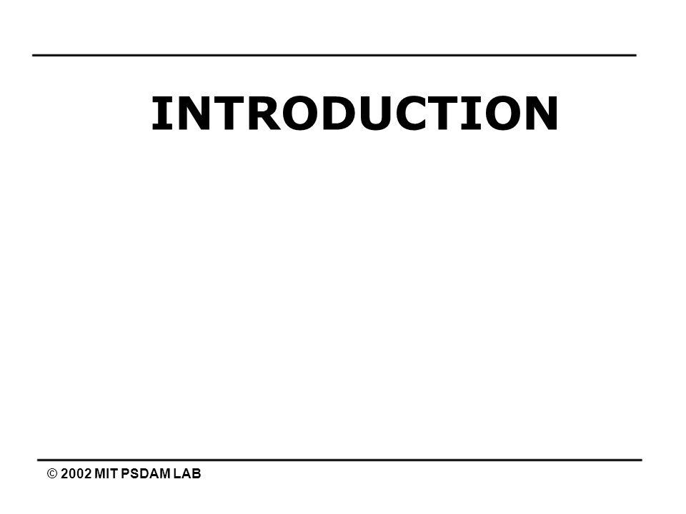 INTRODUCTION © 2002 MIT PSDAM LAB