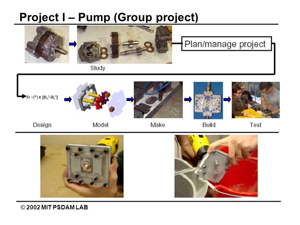 Project I – Pump (Group project) © 2002 MIT PSDAM LAB