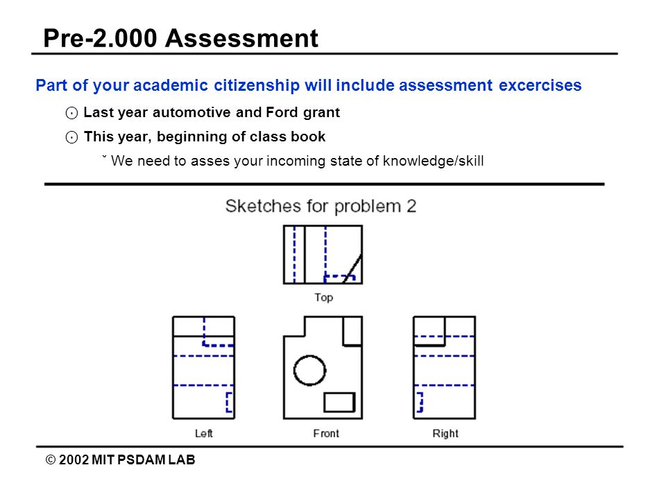 Pre-2.000 Assessment © 2002 MIT PSDAM LAB Part of your academic citizenship will include assessment excercises ⊙ Last year automotive and Ford grant ⊙ This year, beginning of class book ˇ We need to asses your incoming state of knowledge/skill