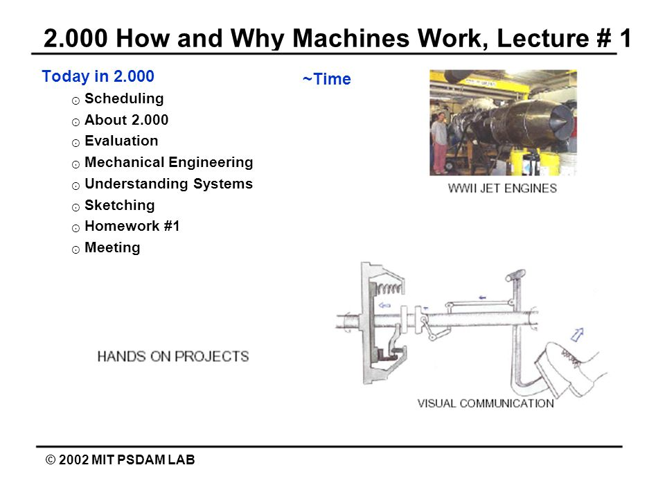 2.000 How and Why Machines Work, Lecture # 1 © 2002 MIT PSDAM LAB Today in 2.000 ⊙ Scheduling ⊙ About 2.000 ⊙ Evaluation ⊙ Mechanical Engineering ⊙ Understanding Systems ⊙ Sketching ⊙ Homework #1 ⊙ Meeting ~Time