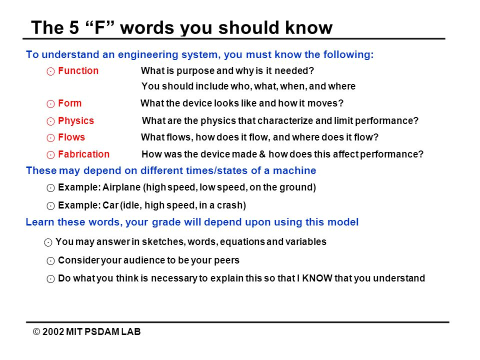 The 5 F words you should know © 2002 MIT PSDAM LAB To understand an engineering system, you must know the following: ⊙ Function What is purpose and why is it needed.
