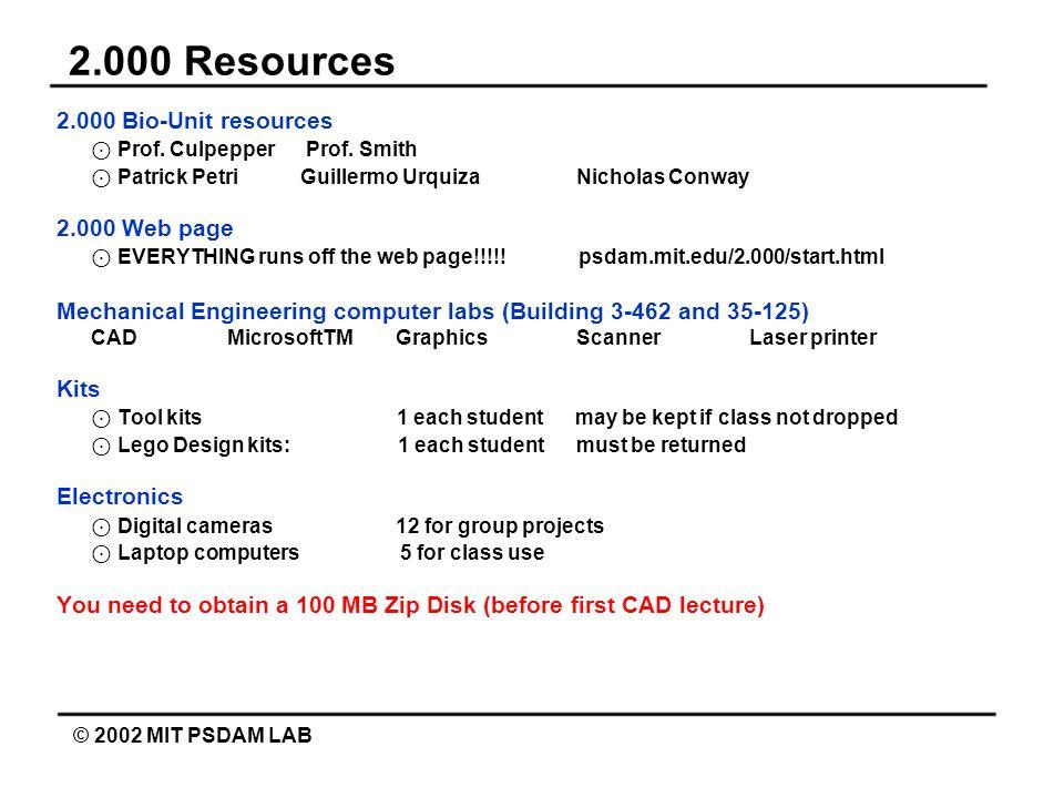 2.000 Resources © 2002 MIT PSDAM LAB 2.000 Bio-Unit resources ⊙ Prof.