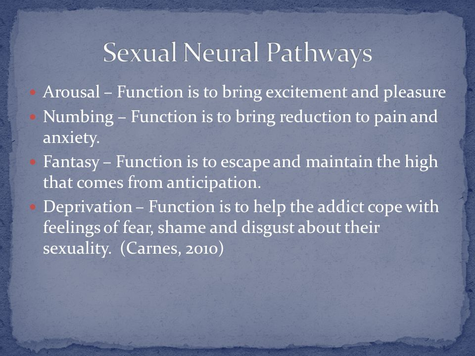 Arousal – Function is to bring excitement and pleasure Numbing – Function is to bring reduction to pain and anxiety. Fantasy – Function is to escape a