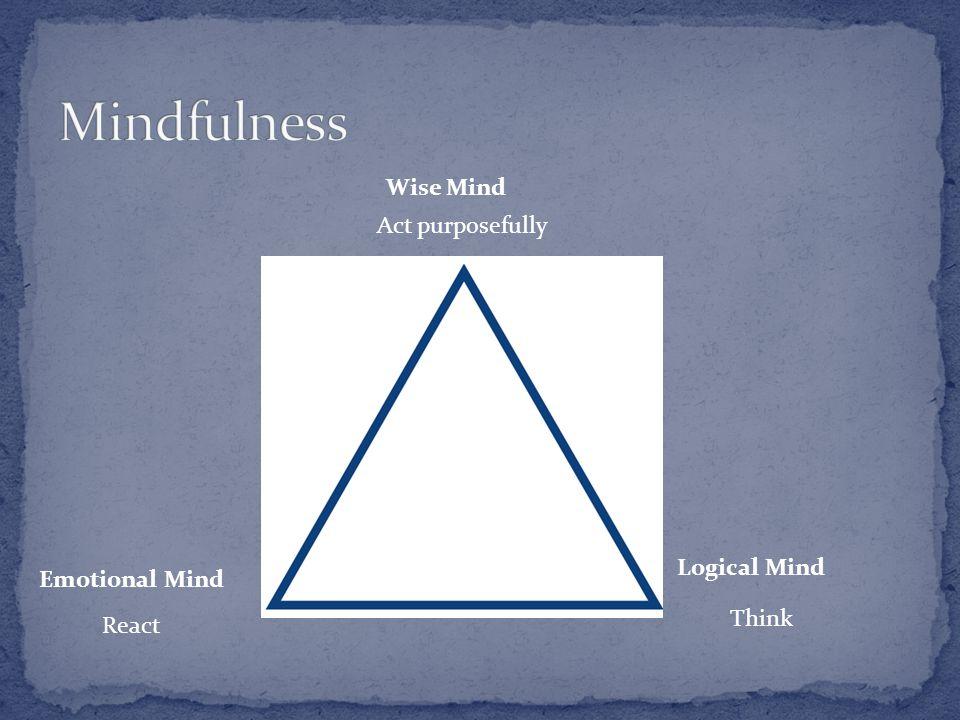 Emotional Mind Logical Mind Wise Mind React Think Act purposefully
