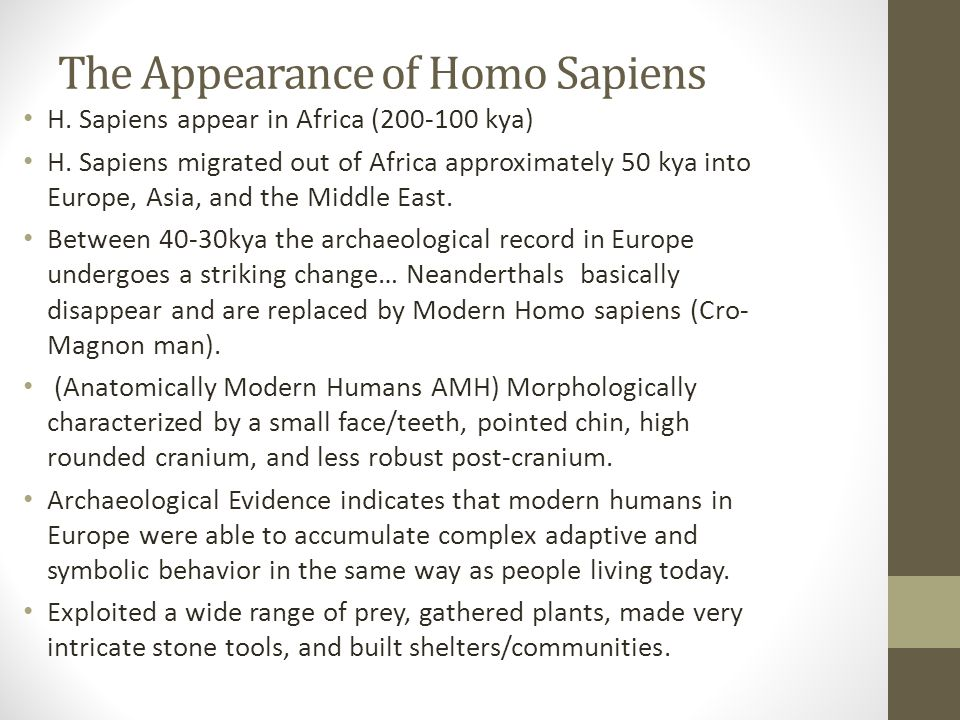 The Appearance of Homo Sapiens H. Sapiens appear in Africa (200-100 kya) H.