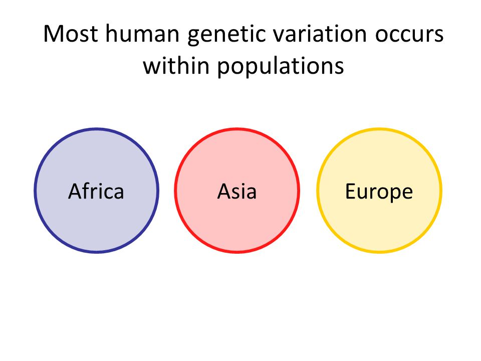 Most human genetic variation occurs within populations AfricaAsiaEurope