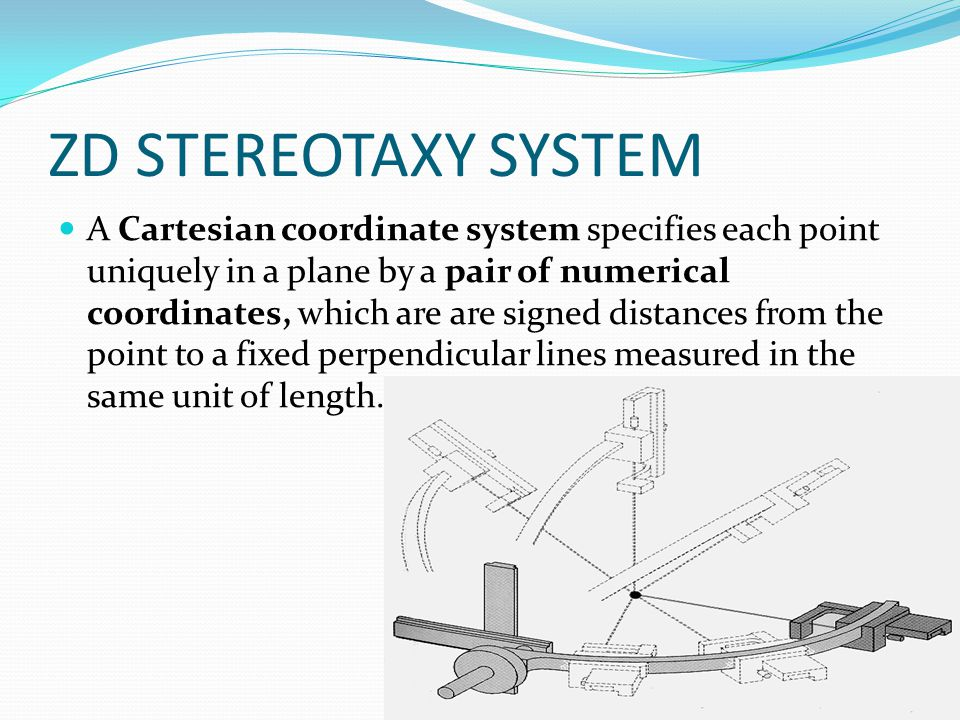 ZD STEREOTAXY SYSTEM A Cartesian coordinate system specifies each point uniquely in a plane by a pair of numerical coordinates, which are are signed d