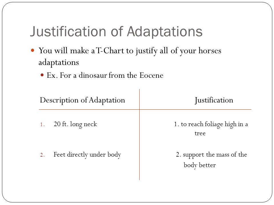 Justification of Adaptations You will make a T-Chart to justify all of your horses adaptations Ex.