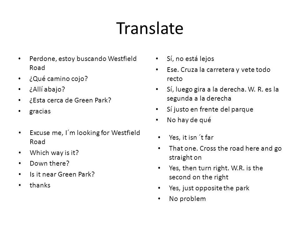Translate Perdone, estoy buscando Westfield Road ¿Qué camino cojo.