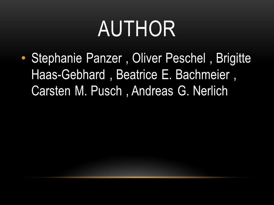 AUTHOR Stephanie Panzer, Oliver Peschel, Brigitte Haas-Gebhard, Beatrice E.