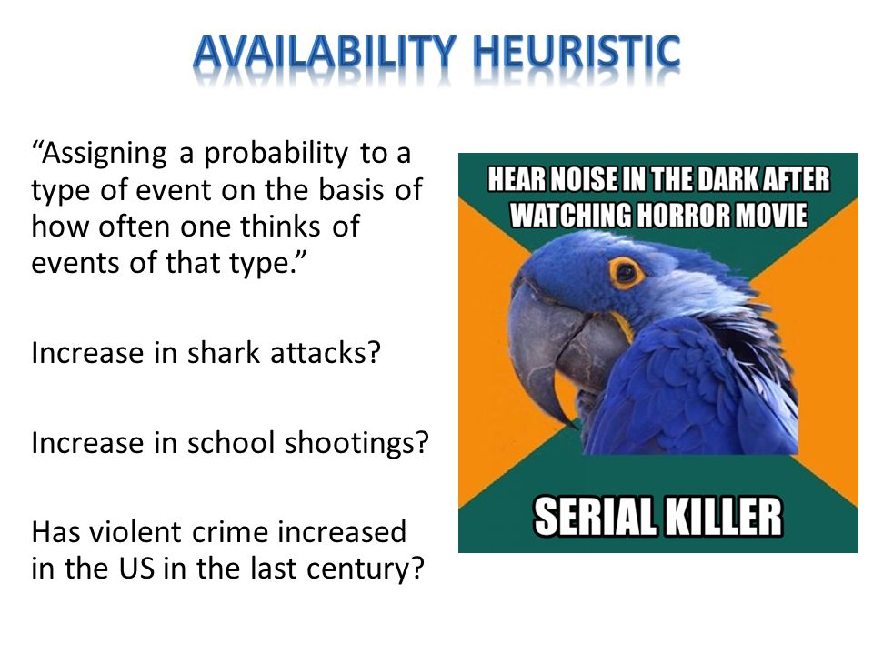 Assigning a probability to a type of event on the basis of how often one thinks of events of that type. Increase in shark attacks.