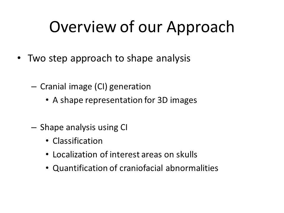 Cranial Image (CI) Generation Automatic system: process 3D CT images – Input: CT skull images – Output: a distance matrix – Cranial Image 6 1 2 3 j N 1 2 i d(i,j) N