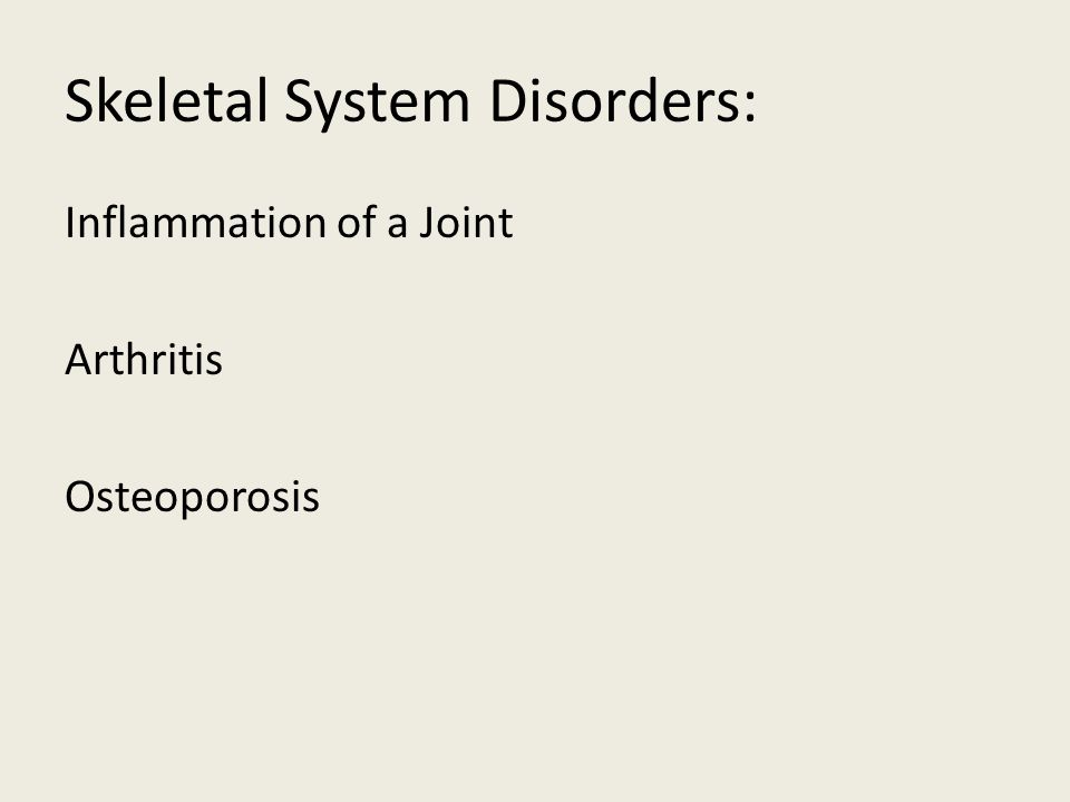 Skeletal System Disorders: Inflammation of a Joint Arthritis Osteoporosis