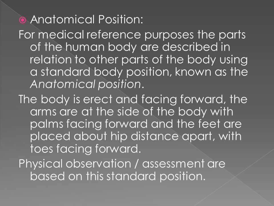  Anatomical Position: For medical reference purposes the parts of the human body are described in relation to other parts of the body using a standar