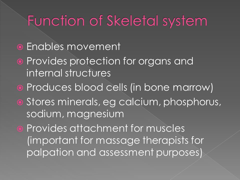 Enables movement  Provides protection for organs and internal structures  Produces blood cells (in bone marrow)  Stores minerals, eg calcium, pho
