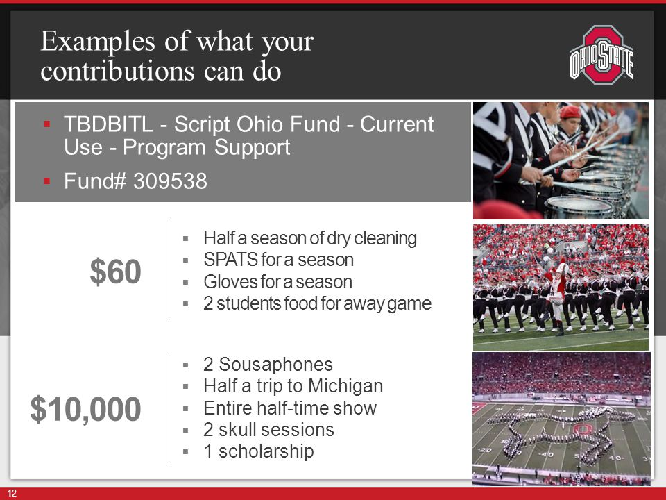 Examples of what your contributions can do  TBDBITL - Script Ohio Fund - Current Use - Program Support  Fund# 309538 12 $60  Half a season of dry cleaning  SPATS for a season  Gloves for a season  2 students food for away game $10,000  2 Sousaphones  Half a trip to Michigan  Entire half-time show  2 skull sessions  1 scholarship